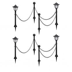 stradeXL Solarne lampy ogrodowe z łańcuchem i słupkami, 4 szt.