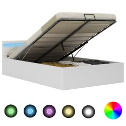 stradeXL Rama łóżka z podnośnikiem i LED, biała, ekoskóra, 140 x 200 cm