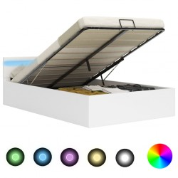 stradeXL Rama łóżka z podnośnikiem i LED, biała, ekoskóra, 180 x 200 cm