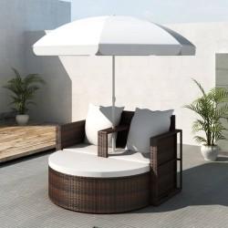 Rattanowa sofa z parasolem (Brązowa)