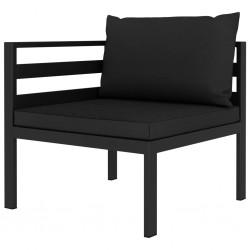 stradeXL Moduł sofy narożnej, 1 szt., z poduszkami, aluminium, antracyt