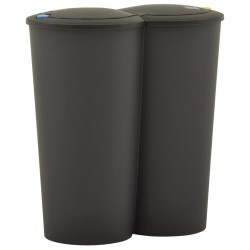 stradeXL Duo Bin Trash Can 50 L Black