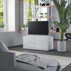 stradeXL Szafka pod TV, biała, wysoki połysk, 80x34x36 cm, płyta wiórowa