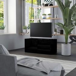 stradeXL Szafka TV, czarna, wysoki połysk, 80x34x36 cm, płyta wiórowa