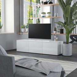 stradeXL Szafka pod TV, biała, wysoki połysk 120x34x30 cm, płyta wiórowa