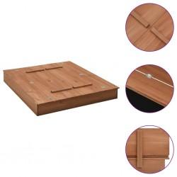 stradeXL Piaskownica z pokrywą, drewno jodłowe, 95 x 90 x 15 cm