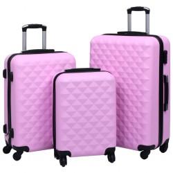 stradeXL Zestaw twardych walizek na kółkach, 3 szt., różowy, ABS