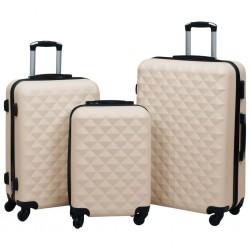 stradeXL Zestaw twardych walizek na kółkach, 3 szt., złoty, ABS