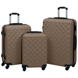 stradeXL Zestaw twardych walizek na kółkach, 3 szt., brązowy, ABS