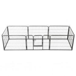 stradeXL Kojec dla psów, 8 paneli, stalowy, czarny, 60 x 80 cm
