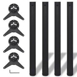 4 Nogi do stołu z regulacją wysokości Czarne 710 mm