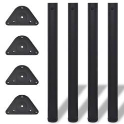 4 Nogi do stołu z regulacją wysokości 710 mm Czarne