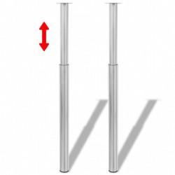 2 teleskopowe nogi do stołu Matowy nikiel 710 mm-1100 mm
