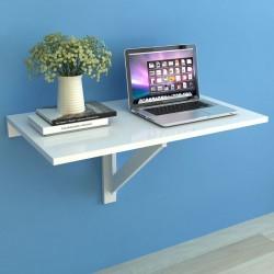 stradeXL Składany stolik na ścianę, biały, 100 x 60 cm