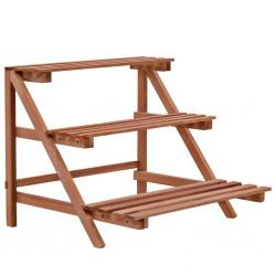 stradeXL 3-piętrowy regał na rośliny z drewna cedrowego, 48 x 45 x 40 cm