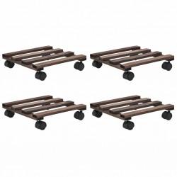 stradeXL Stojak na rośliny, na kółkach, 4 szt., drewno cedrowe, 25x25 cm