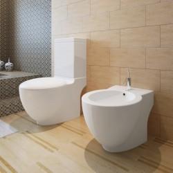 stradeXL Toaleta stojąca z bidetem, biała, ceramiczna