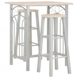 stradeXL 3-częściowy zestaw mebli barowych, drewno i stal