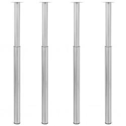 stradeXL Teleskopowe nogi do stołu, 4 szt., nikiel, 710-1100 mm
