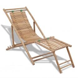 stradeXL Tarasowy leżak z podnóżkiem, bambusowy