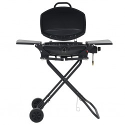 stradeXL Portable Gas BBQ Grill with Cooking Zone Black