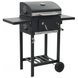 stradeXL Charcoal-Fueled BBQ Grill with Bottom Shelf Black