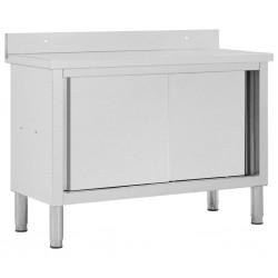 stradeXL Stół roboczy, przesuwne drzwi, 120x50x95 cm, stal nierdzewna