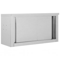 stradeXL Kitchen Wall Cabinet with Sliding Doors 90x40x50 cm Stainless Steel