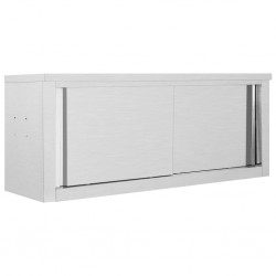 stradeXL Kitchen Wall Cabinet with Sliding Doors 120x40x50 cm Stainless Steel