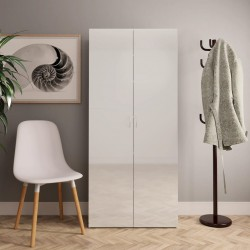 stradeXL Shoe Cabinet High Gloss White 80x35.5x180 cm Chipboard