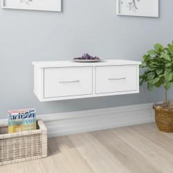 stradeXL Półka ścienna z szufladami, biała, 60x26x18,5 cm, płyta wiórowa