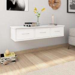 stradeXL Półka ścienna z szufladami, biała, 88x26x18,5 cm, płyta wiórowa