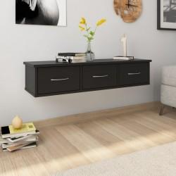 stradeXL Półka ścienna z szufladami, czarna 88x26x18,5 cm, płyta wiórowa
