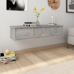 stradeXL Półka ścienna z szufladami, szarość betonu, 88x26x18,5 cm