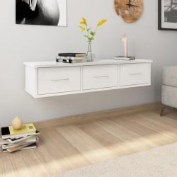 stradeXL Półka ścienna z szufladami, wysoki połysk, biała, 88x26x18,5 cm