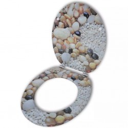 Toilet Seat with MDF Lid Pebbles Design