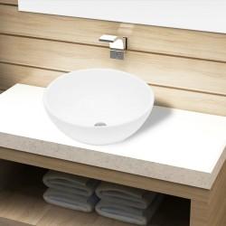 stradeXL Umywalka łazienkowa, biała, okrągła
