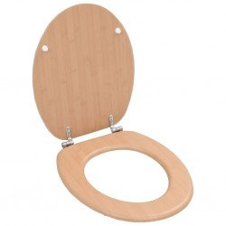 stradeXL WC Toilet Seat with Lid MDF Bamboo Design