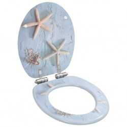 stradeXL WC Toilet Seat with Soft Close Lid MDF Starfish Design