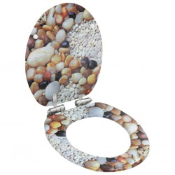 stradeXL WC Toilet Seat with Soft Close Lid MDF Pebbles Design