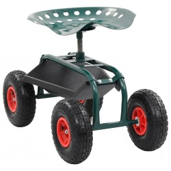 stradeXL Rolling Garden Cart with Tool Tray Green 78x44.5x84 cm
