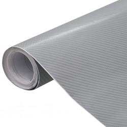 stradeXL Folia samochodowa, matowa, 4D, srebrna, 500x152 cm
