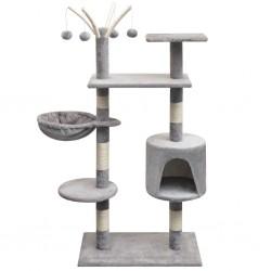 stradeXL Drapak dla kota z sizalowymi słupkami, 125 cm, szary