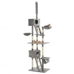 stradeXL Drapak dla kota z sizalowymi słupkami, 230-260 cm, szary