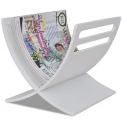 stradeXL Drewniany stojak na gazety, biały