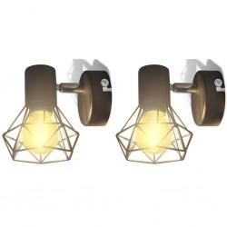 stradeXL Kinkiety w industrialnym stylu, 2 szt., czarne, żarówki LED