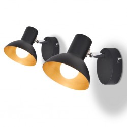 stradeXL Wall Lamps 2 pcs for 2 Bulbs E27 Black and Gold