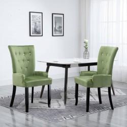 stradeXL Krzesło jadalniane z podłokietnikami, jasnozielone, aksamitne