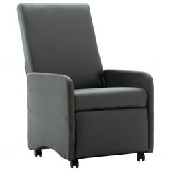 stradeXL Fotel rozkładany, szary, sztuczna skóra