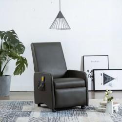 stradeXL Rozkładany fotel do masażu, szary, sztuczna skóra